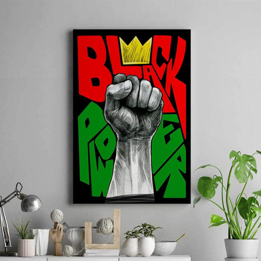 Black Power Canvas Portrait Canvas - FREE SHIPPING