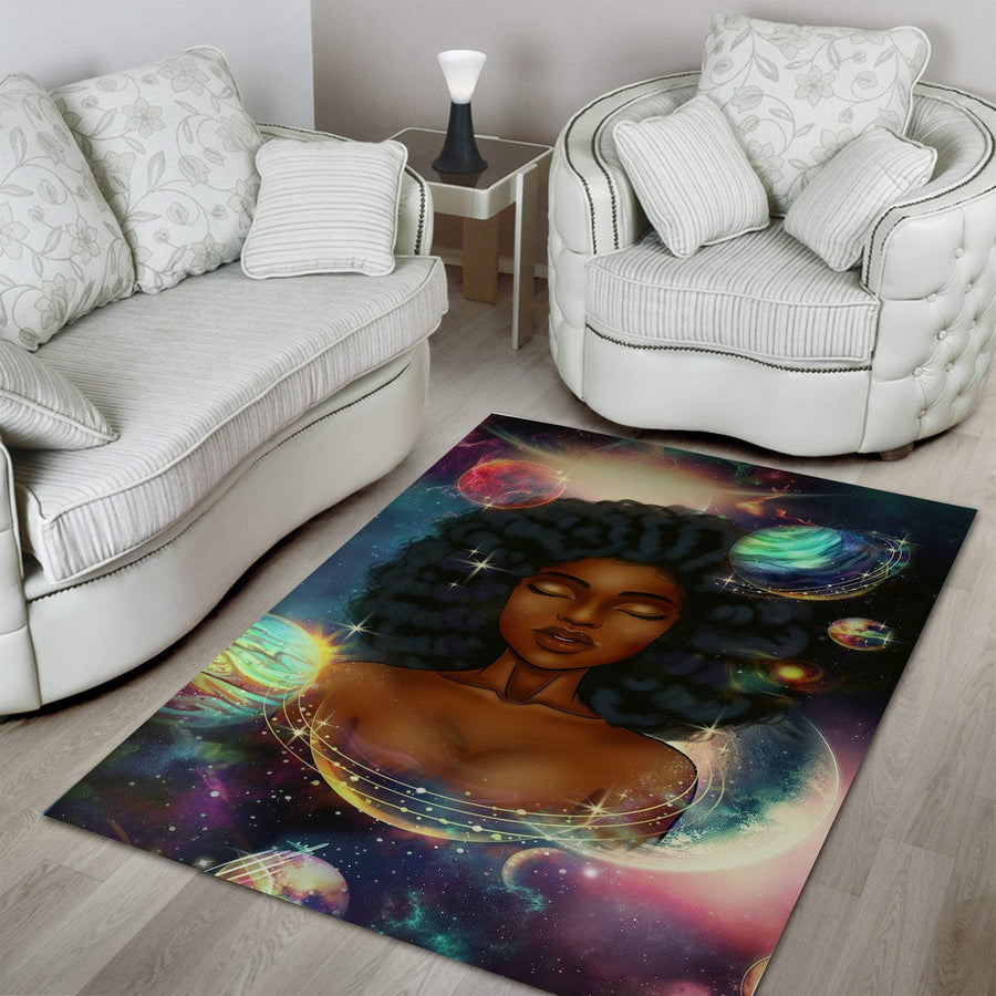 [FREE SHIPPING] Black Girl Planets Rug