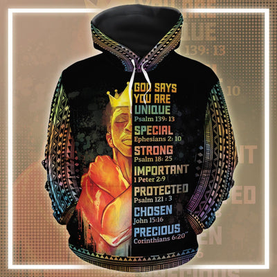 God Says Black King All-Over Hoodie