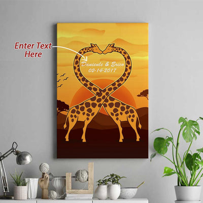 Personalized Love Giraffe Portrait Canvas - FREE SHIPPING
