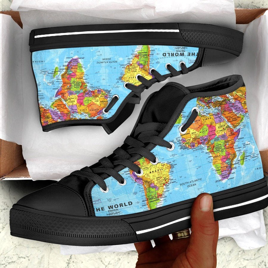 World Map Africa Canvas Shoes