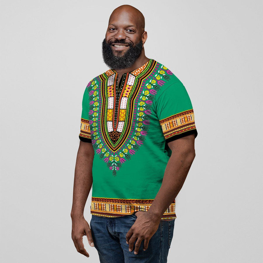 Printed Dashiki Pattern Green Orange V-neck T-shirt