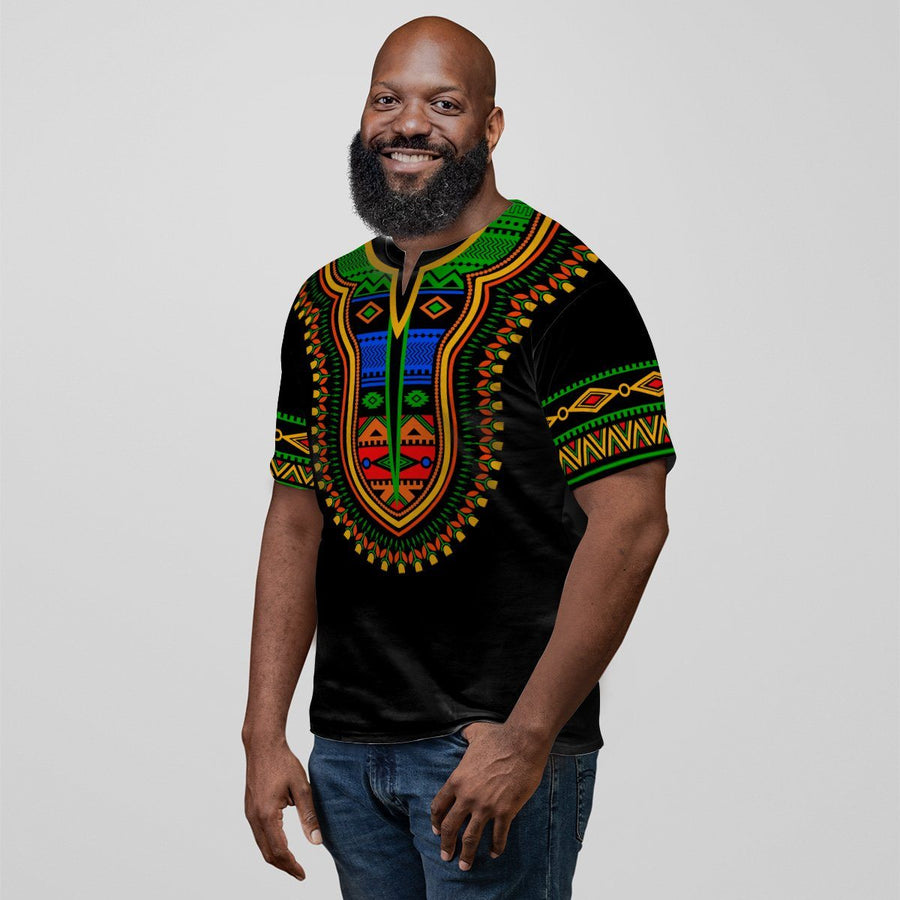 Printed Dashiki Pattern In Black 3 V-neck T-shirt