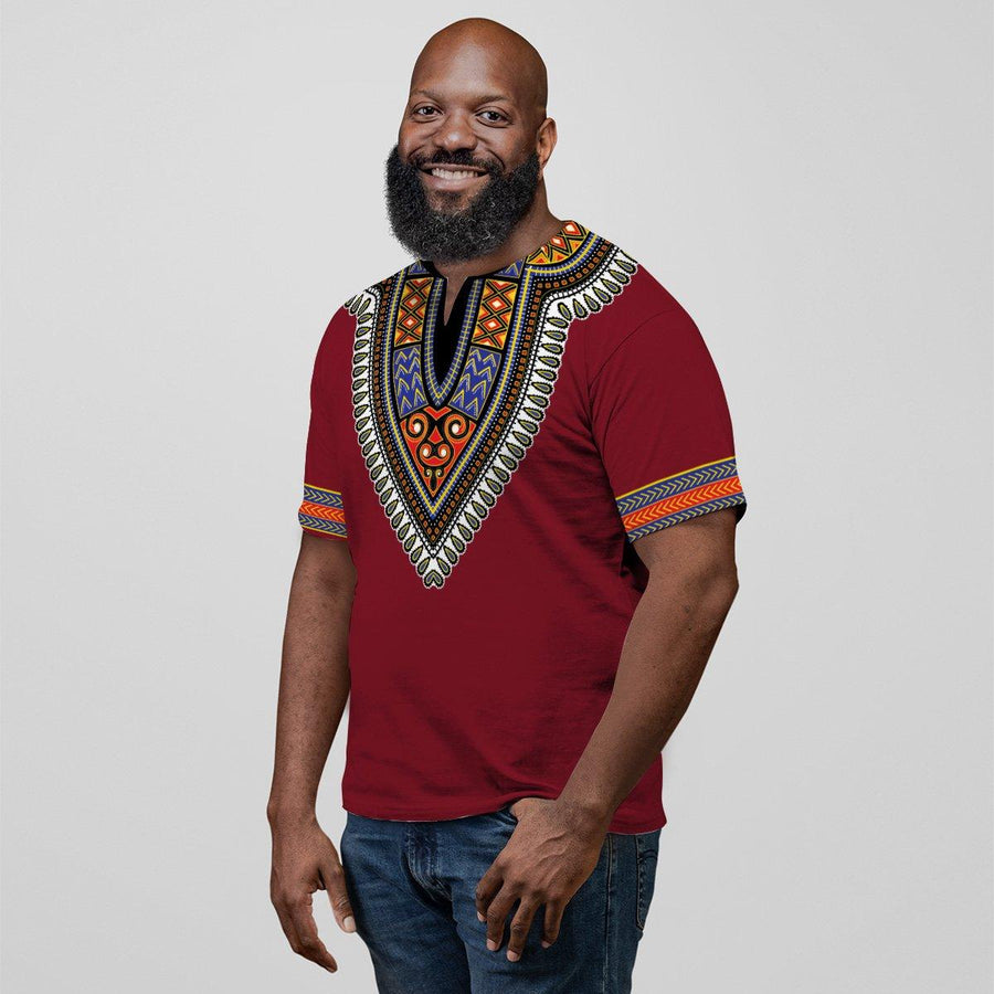 Printed Dashiki Pattern Red V-neck T-shirt