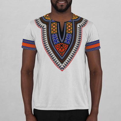 Printed Dashiki Pattern White V-neck T-shirt