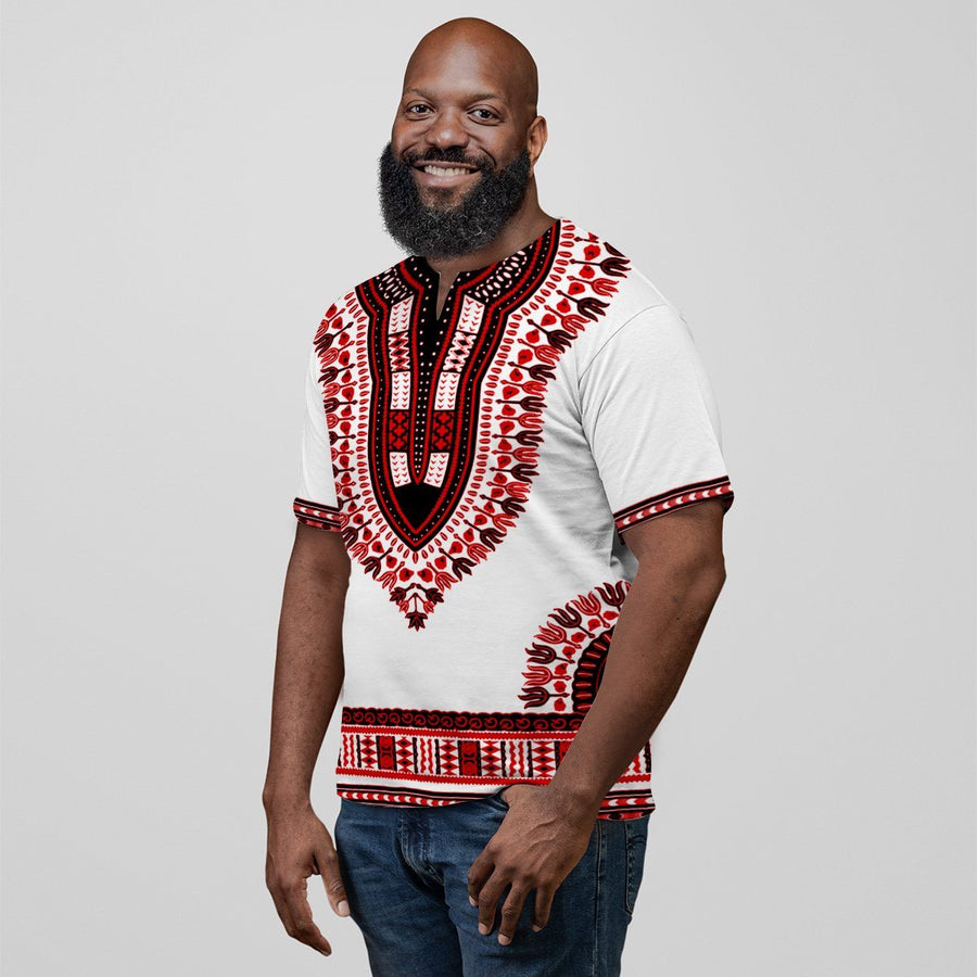 Printed Dashiki Pattern White & Red V-neck T-Shirt