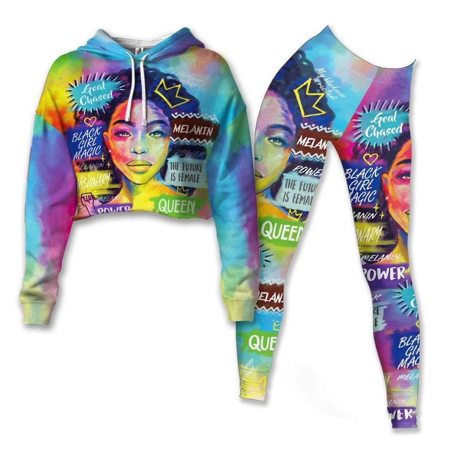 Queen Art Cropped Hoodie & Leggings Set