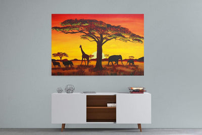 African Sunset Landscape Canvas