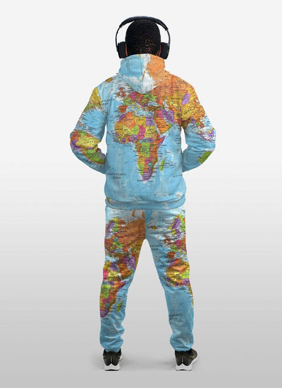 World Map Africa Fleece All-over Hoodie And Joggers Set
