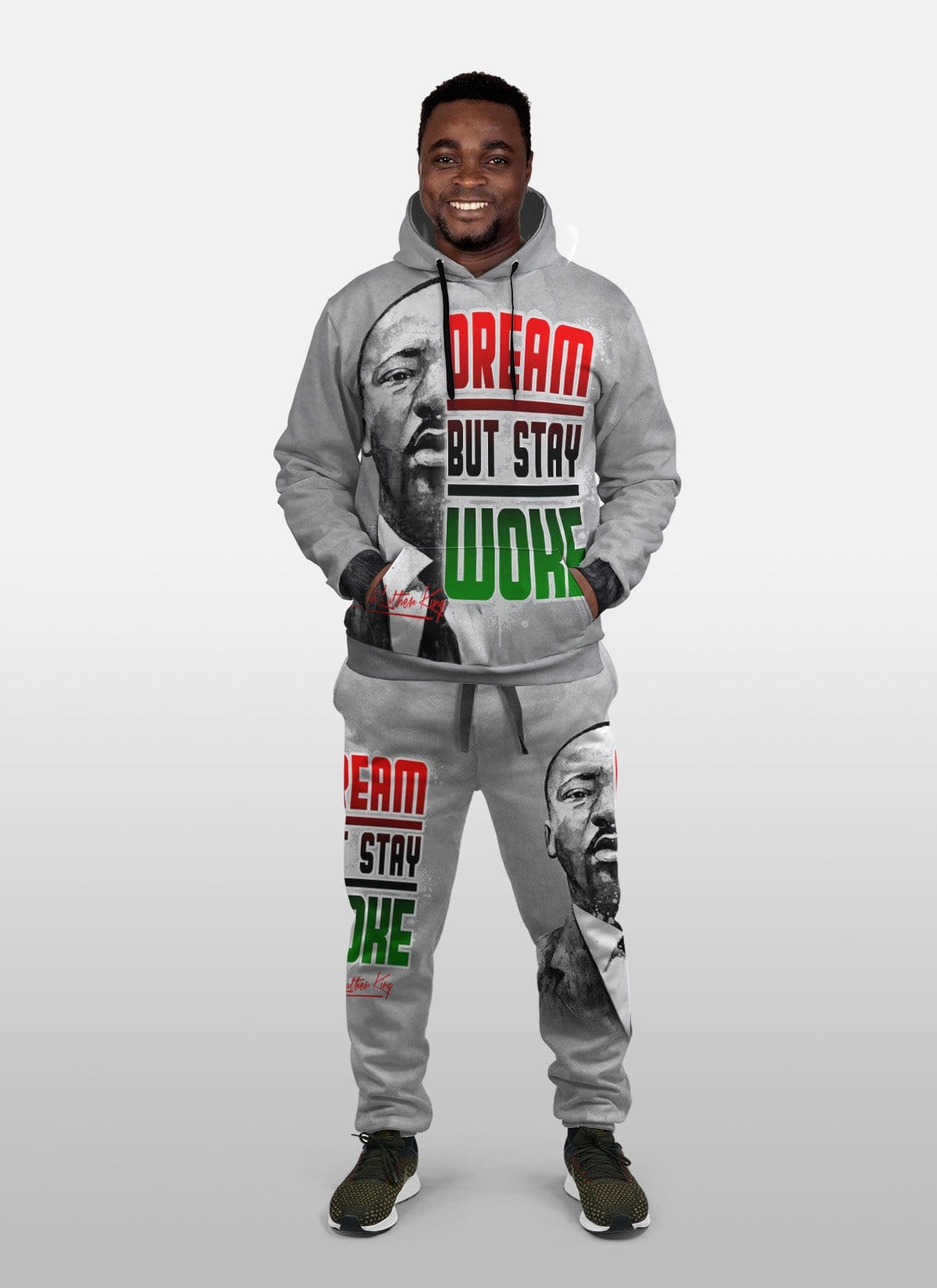 Dream But Stay Woke Fleece All-over Hoodie And Joggers Set Hoodie Joggers Set Tianci