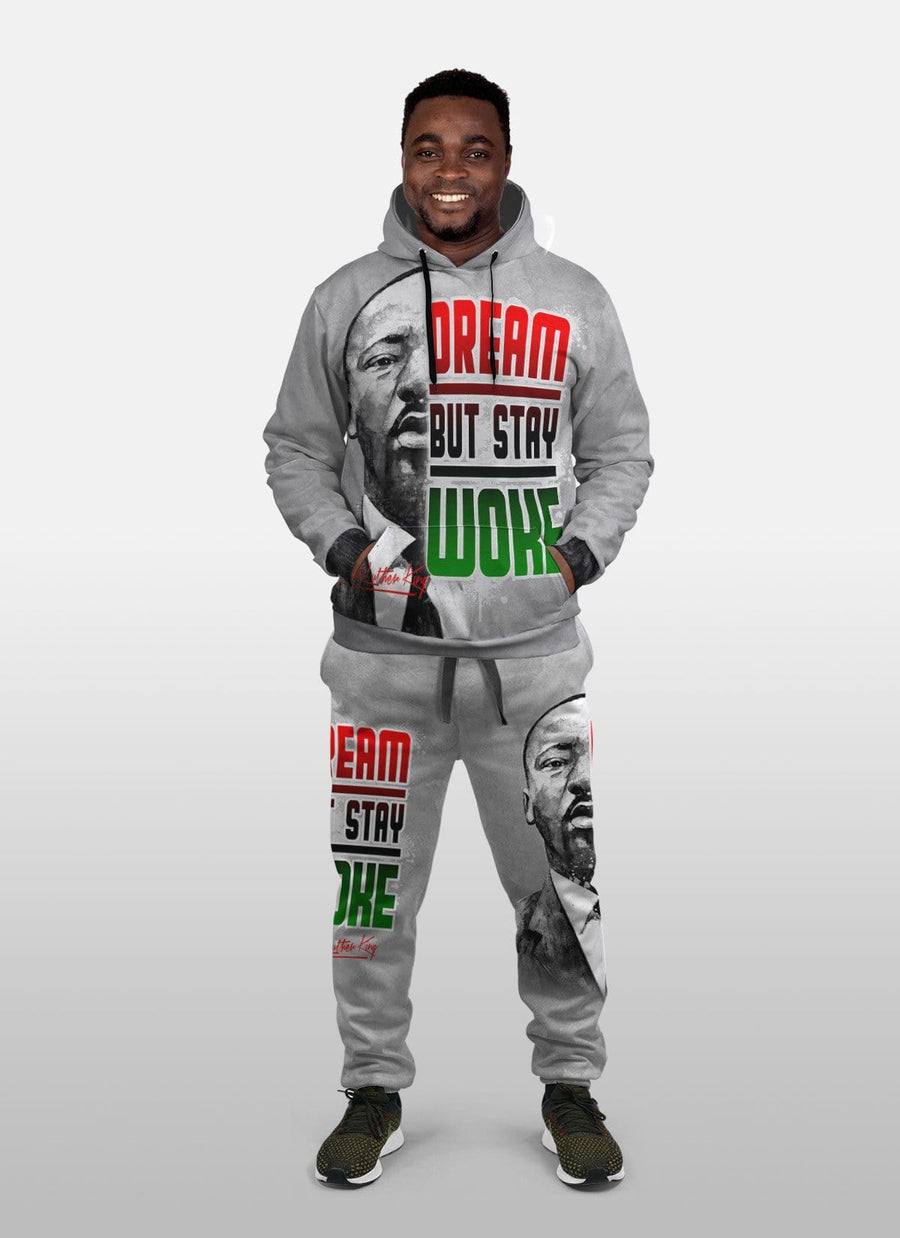 Dream But Stay Woke Fleece All-over Hoodie And Joggers Set
