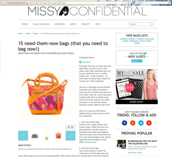 Missy Confidential (Online Blog), December 2012 – ATHINAEUM