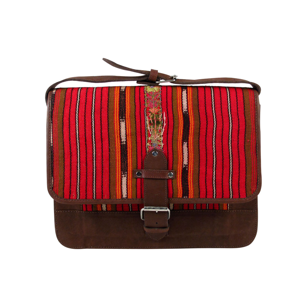 Solola Perraje Man Satchel Red Cafe Ikat