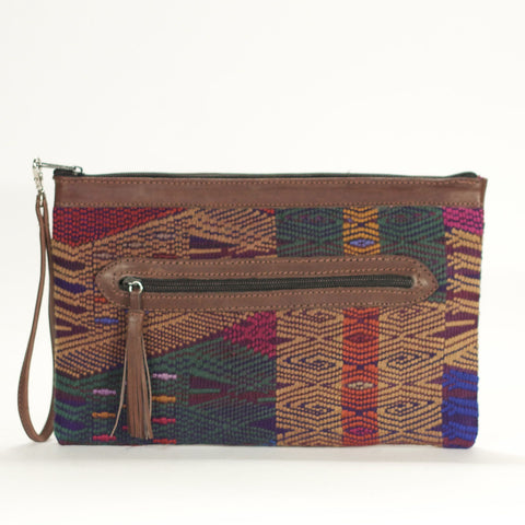 San Juan Sacatepecas El Mano Clutch Chocolate + Olive + Navy