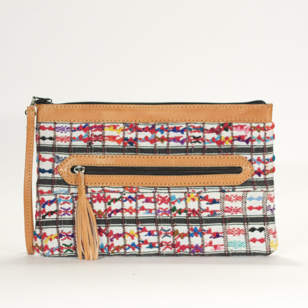 San Lucas El Mano Clutch White + Multi Mini Brocade