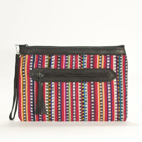 Solola El Mano Clutch Red + Multi Stripe