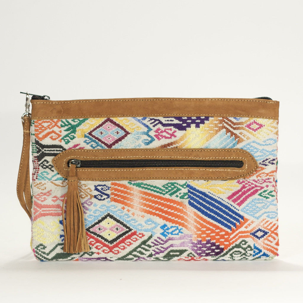 Xela El Mano Clutch White + Multi