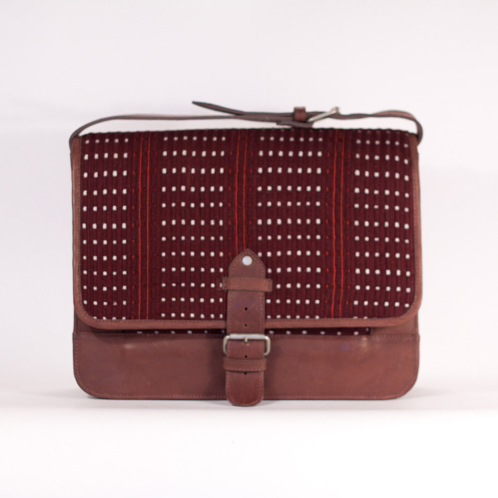 Colotenango Man Satchel Chocolate +White