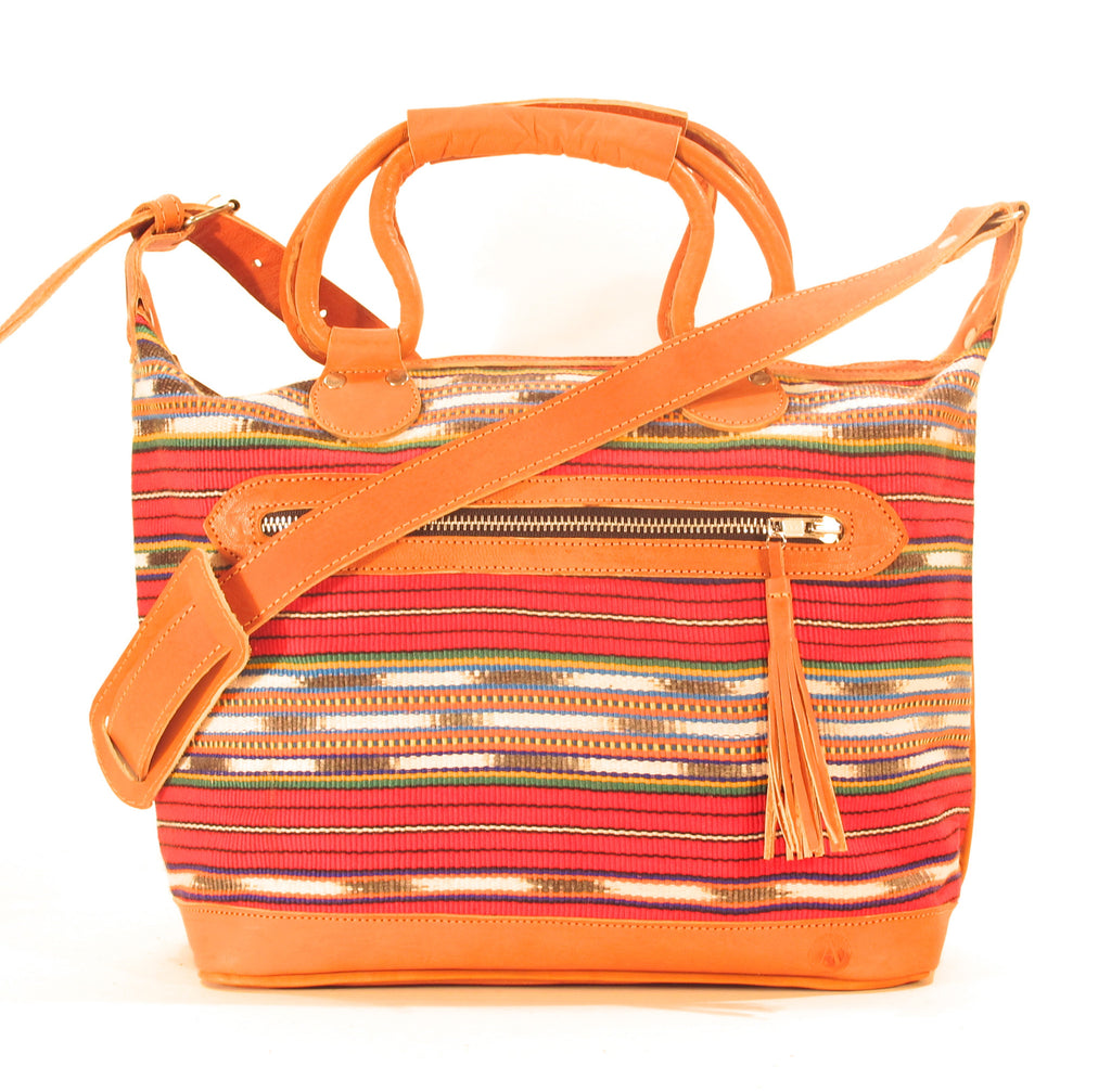 Solola Maletta Red + Ikat Stripe Tan