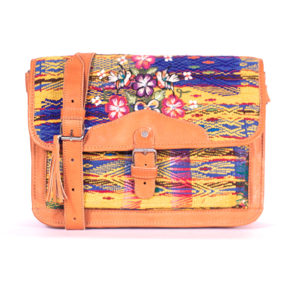 San Juan Sacatepecas Escuela Satchel Navy + Yellow