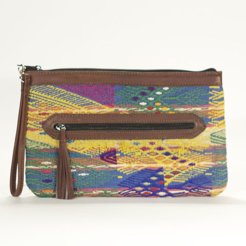 San Juan Sacatepecas El Mano Clutch Yellow + Navy + Chocolate