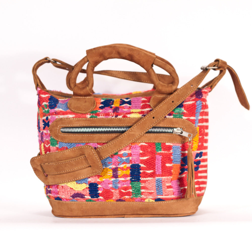 San Pedro Sacatepecas Mini Maletta Red Stripe + Multi Suede