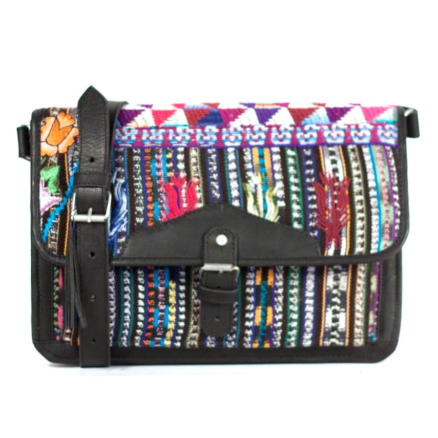 Solola Escuela Satchel Black + Rich Brocade