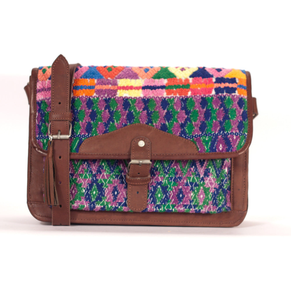 San Pedro Ayampuc Escuela Satchel Purple + Green + Navy