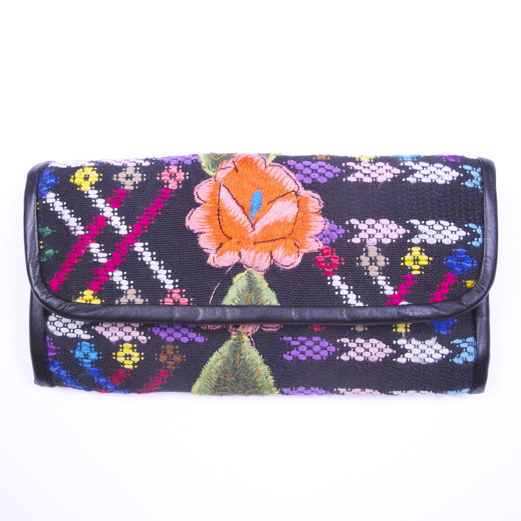 Tzunil Corte Wallet Embroidered Rose