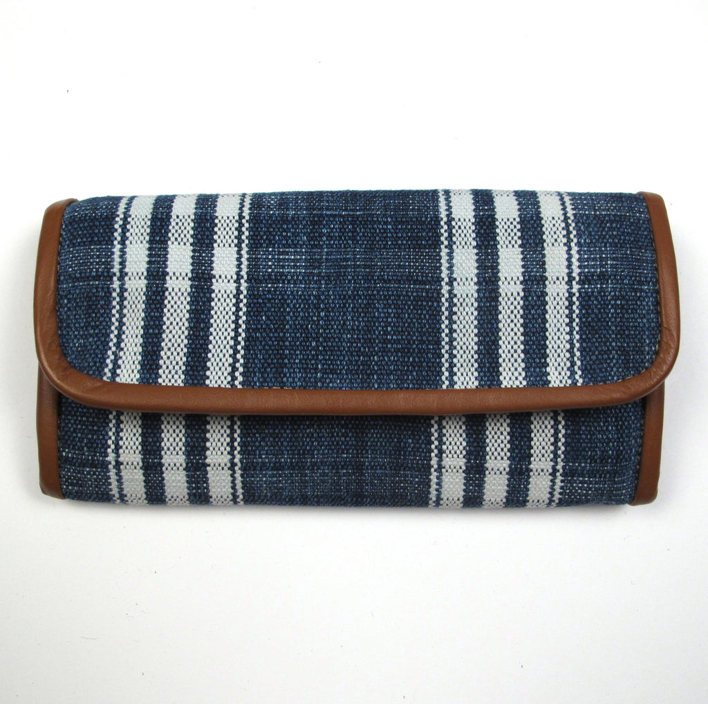 Xela Corte Wallet Faded Indigo Vertical Stripe