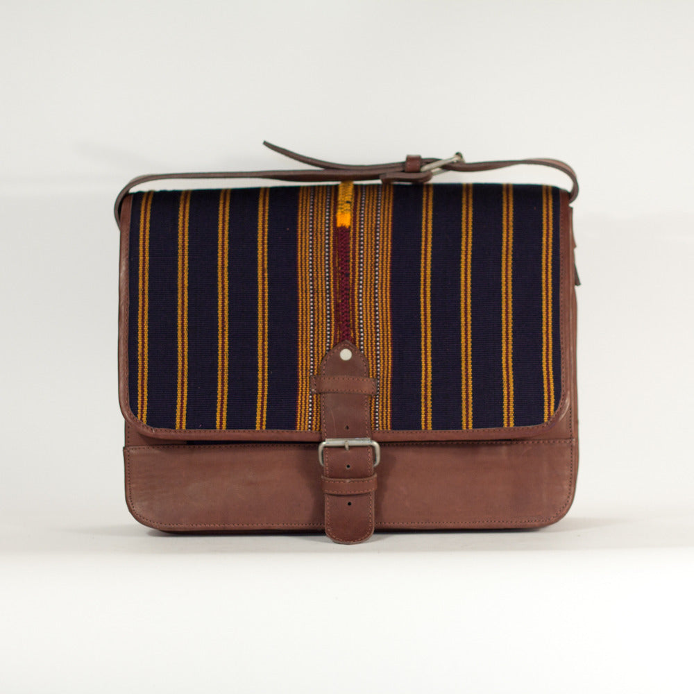 Vertical Stripe Man Satchel Navy + Gold