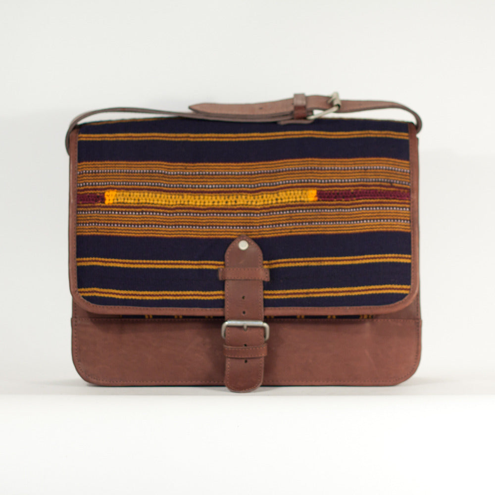 Horizontal Stripe Man Satchel Navy + Gold