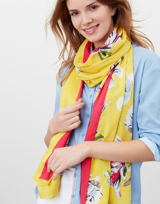 Joules Women's Conway Printed Scarf - Yellow Floral