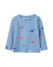 joules baby harbour printed jersey top cream stripe dinos