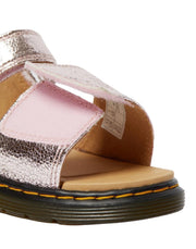 Dr. Martens Junior Metallic Crinkle Romi Sandals - Pink Salt