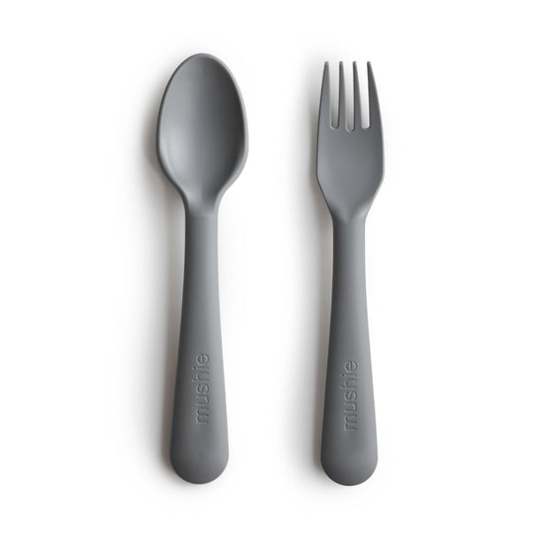 Mushie Fork & Spoon Set - Smoke
