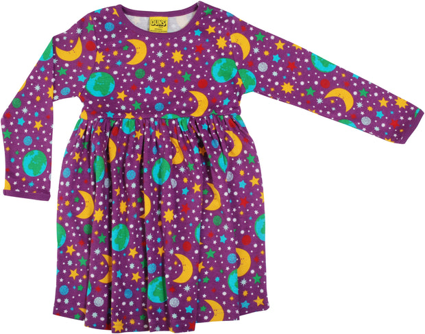 Duns Sweden Long Sleeve Mother Earth Dress With Gathered Skirt - Bright Violet