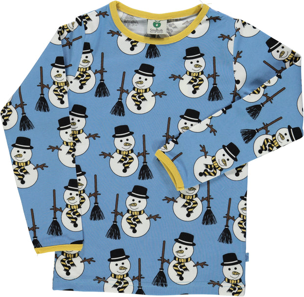 smafolk long sleeve snowman t shirt winter blue