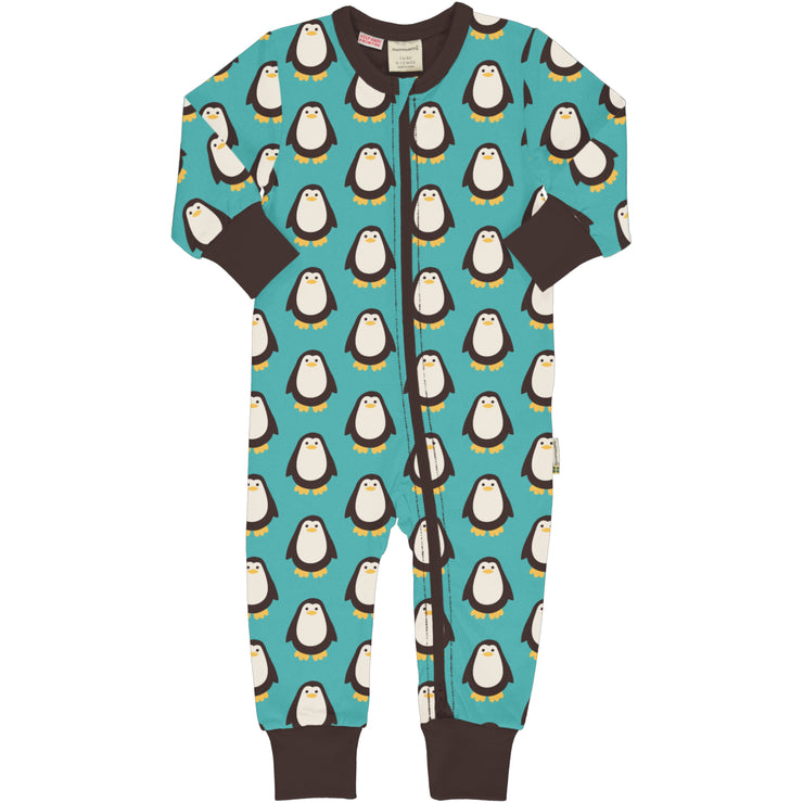 Maxomorra Long Sleeved Zip Rompersuit - Penguin