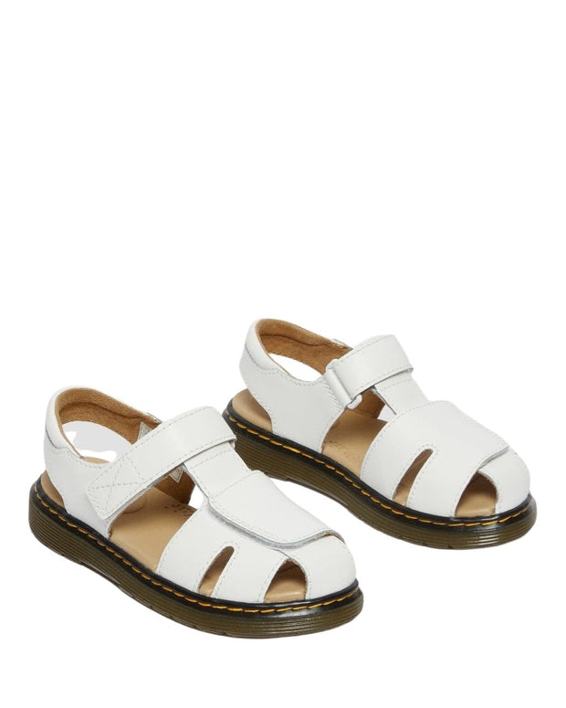 Dr. Martens Junior Moby II Leather Strap Sandals - White T Lamper