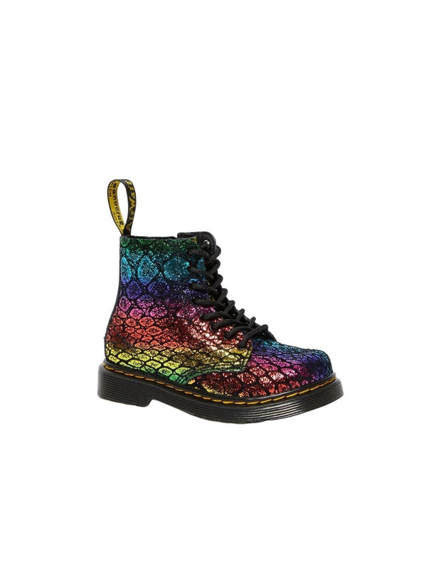 Dr. Martens Junior 1460 Metallic Suede Ankle Boot - Black/Rainbow