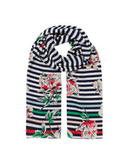 Joules Women's Conway Printed Scarf - Blue Stripe Floral