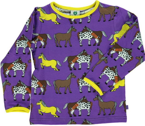 Smafolk Long Sleeve Horses T-Shirt - Purple Heart