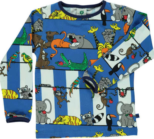 Smafolk Long Sleeve Jungle T-Shirt - Blue Lolite