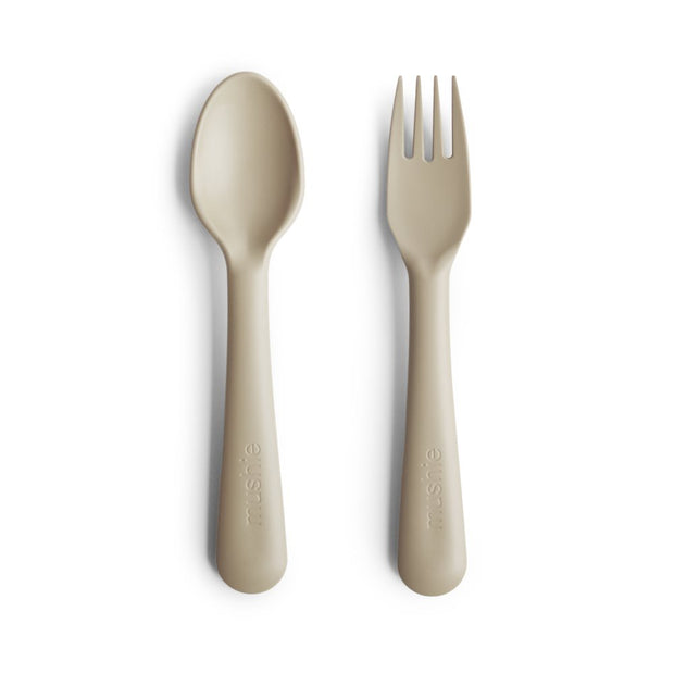 Mushie Fork & Spoon Set - Vanilla