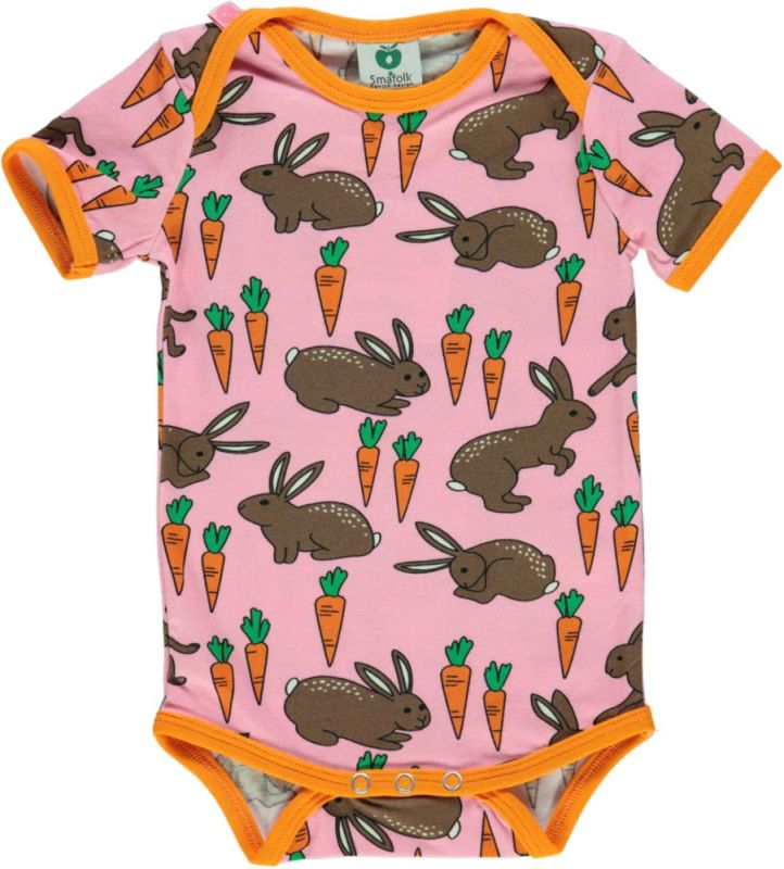 Smafolk Short Sleeved Hare & Carrot Body - Sea Pink