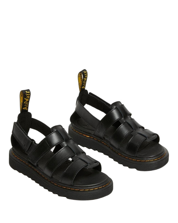 Dr. Martens Junior Terry Leather Strap Sandals - Black T Lamper