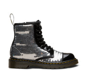 dr martens 1460 pooch sequin junior boot black silver
