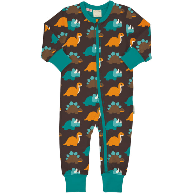 Maxomorra Long Sleeved Zip Rompersuit - Dinosaurs