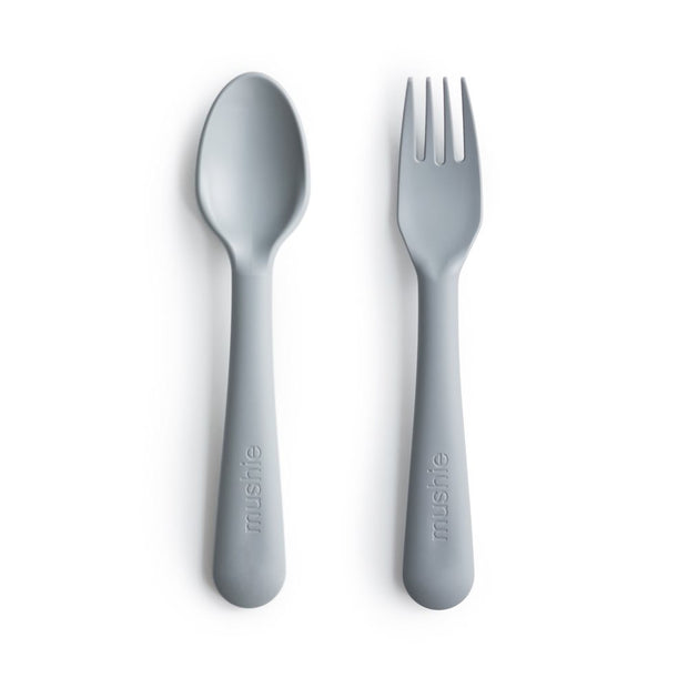Mushie Fork & Spoon Set - Cloud